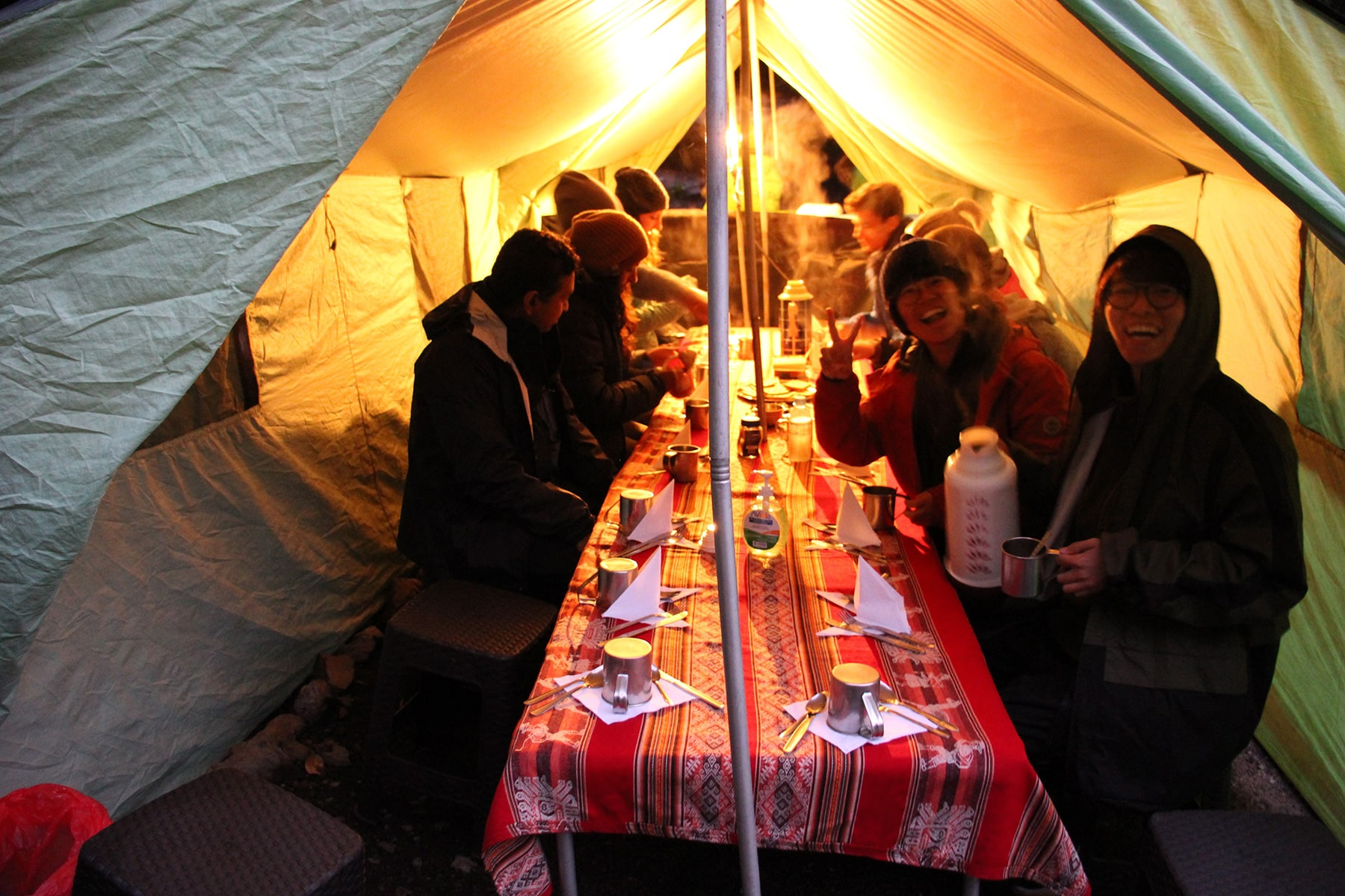 In the dinner tent with the group inca trail