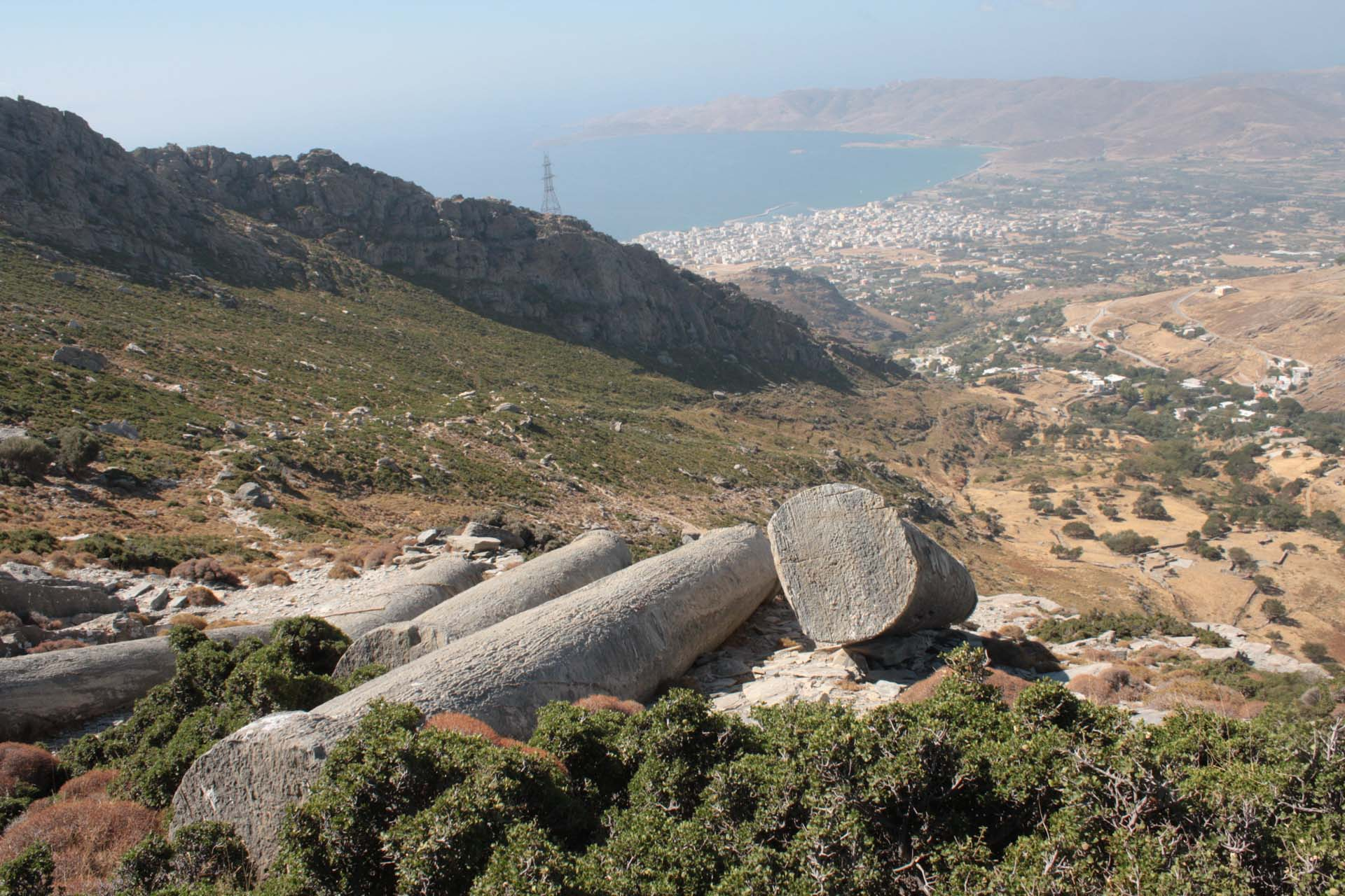 View on the Karystos bay in the Euboea island from the quarry columns on the slope