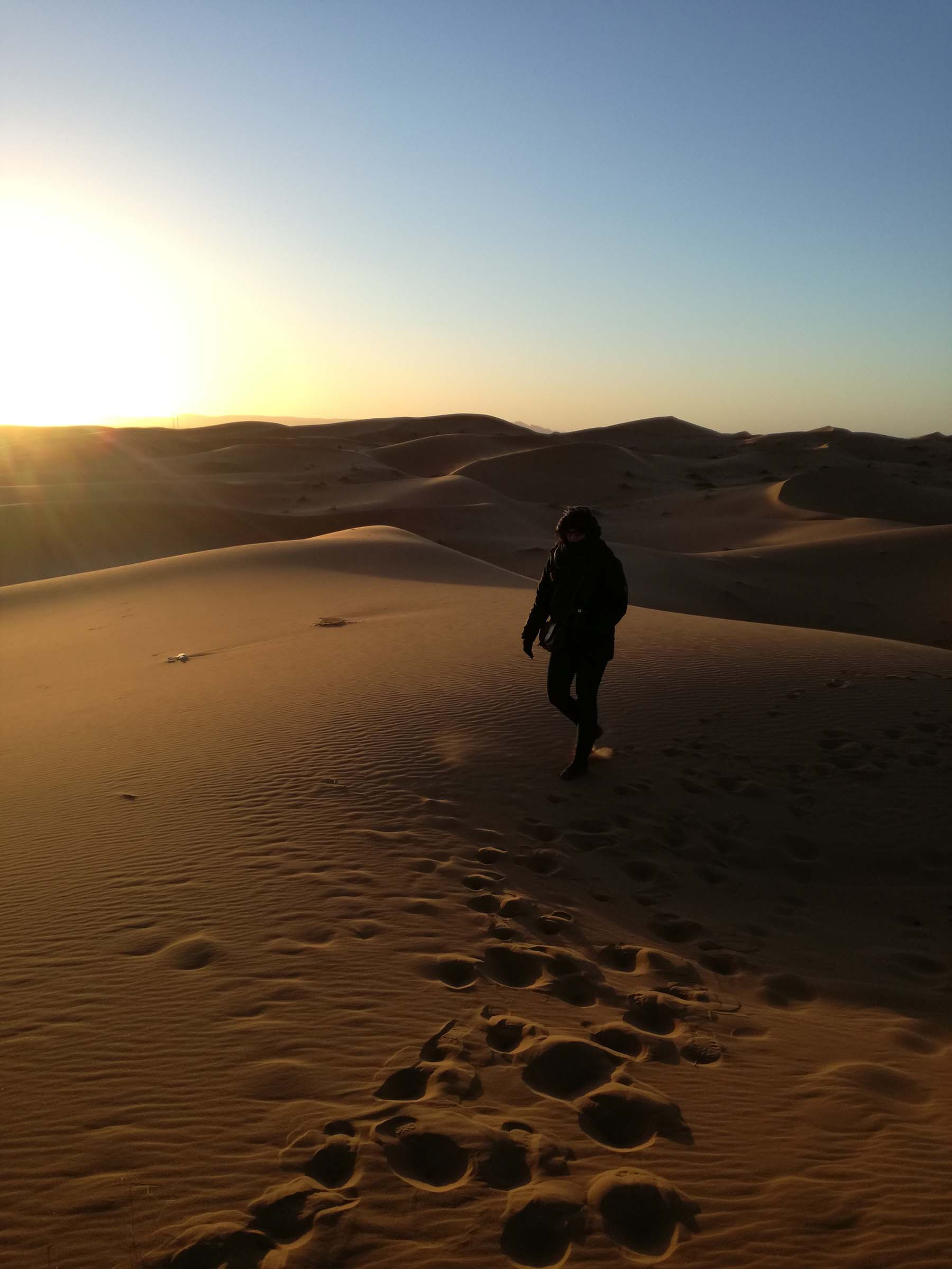 Marianna in Sahara desert in winter
