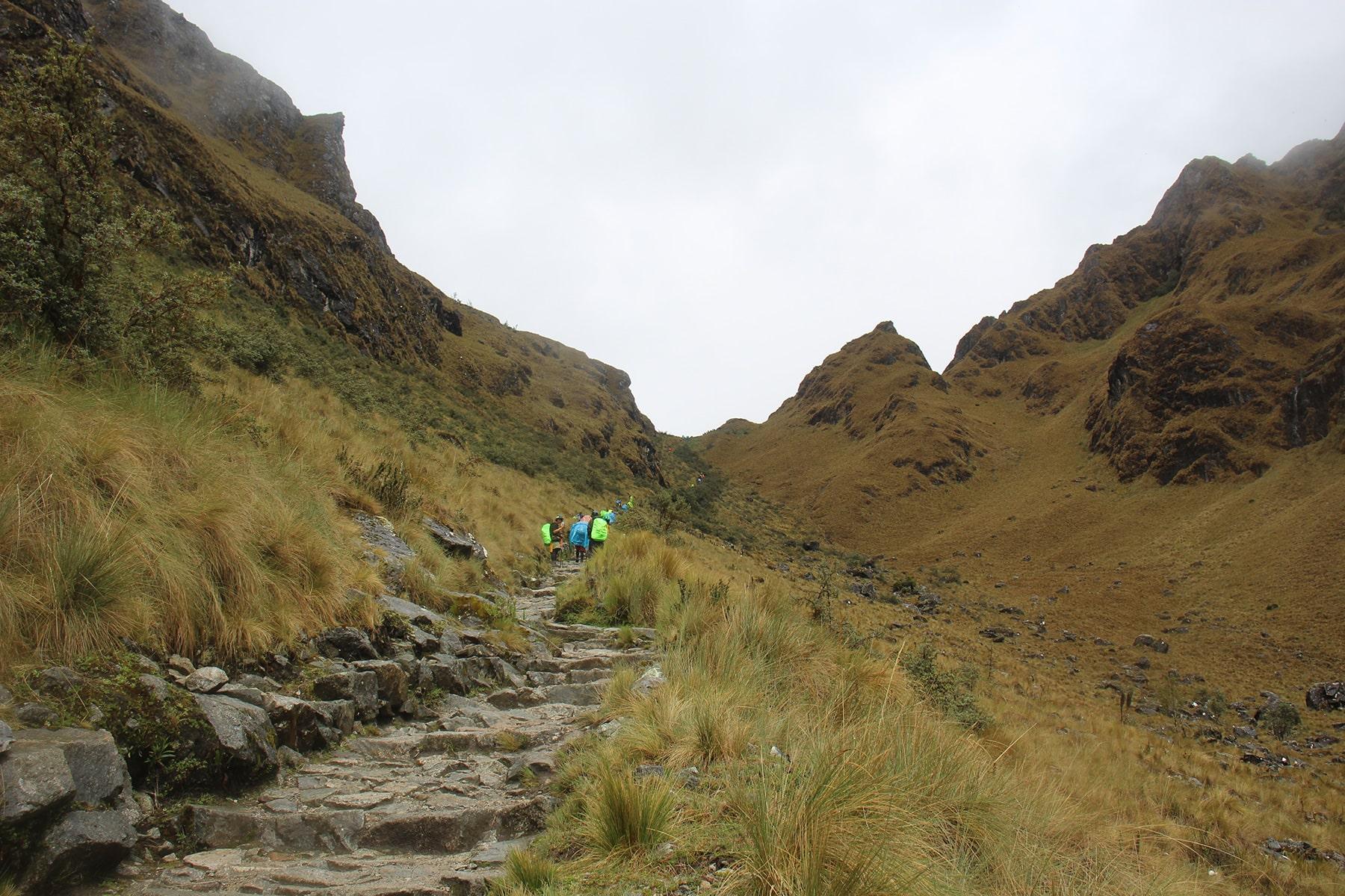 Il sentiero verso il dead woman's pass sull'inca trail