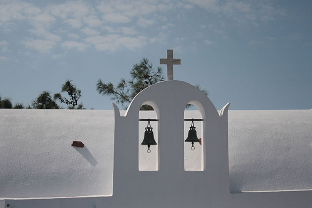 View of a church in Santorini