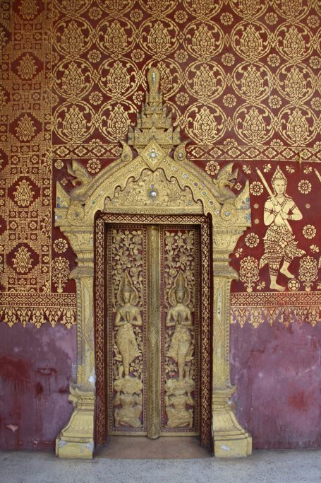 Door decorations in Wat Mai Suwannaphumaham in Luang Prabang, Laos