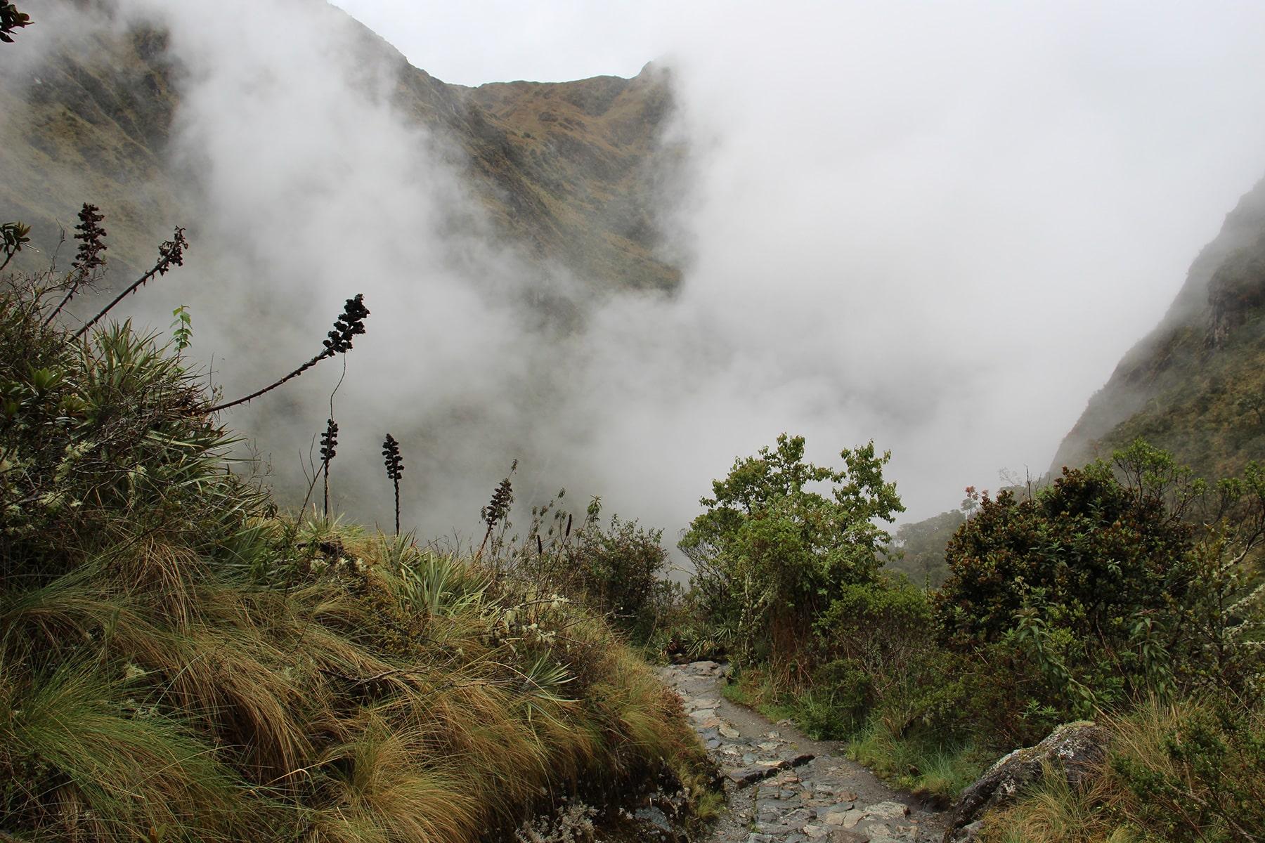 La vista sull'altra valle - la discesa nell'oblio sull'inca trail
