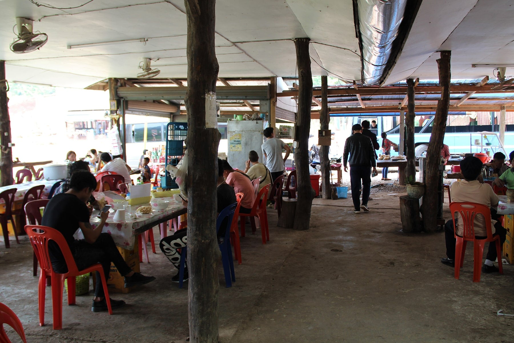 Food stop on the road in Laos