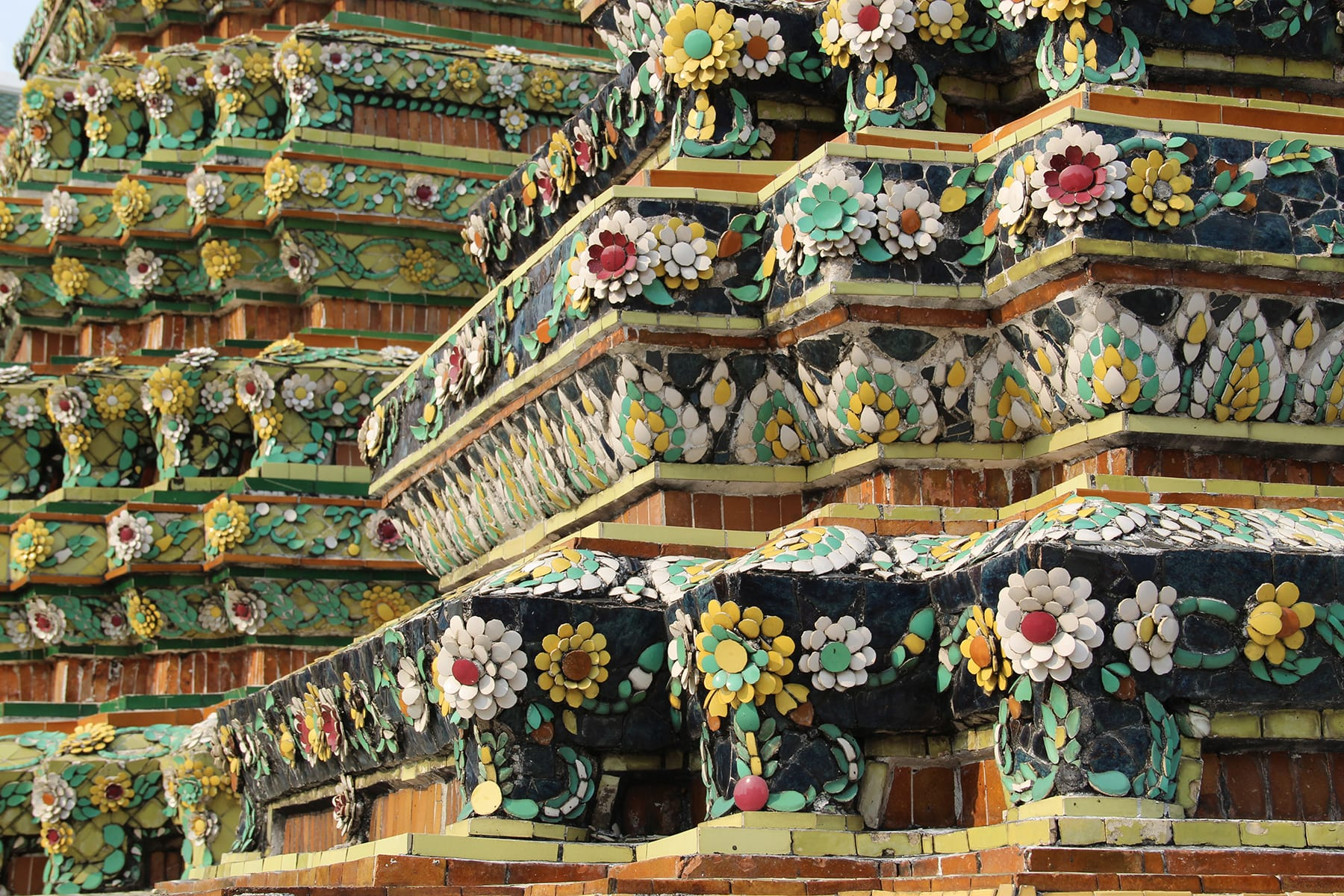 Flower decorations of a stupa in Bangkok Wat Pho