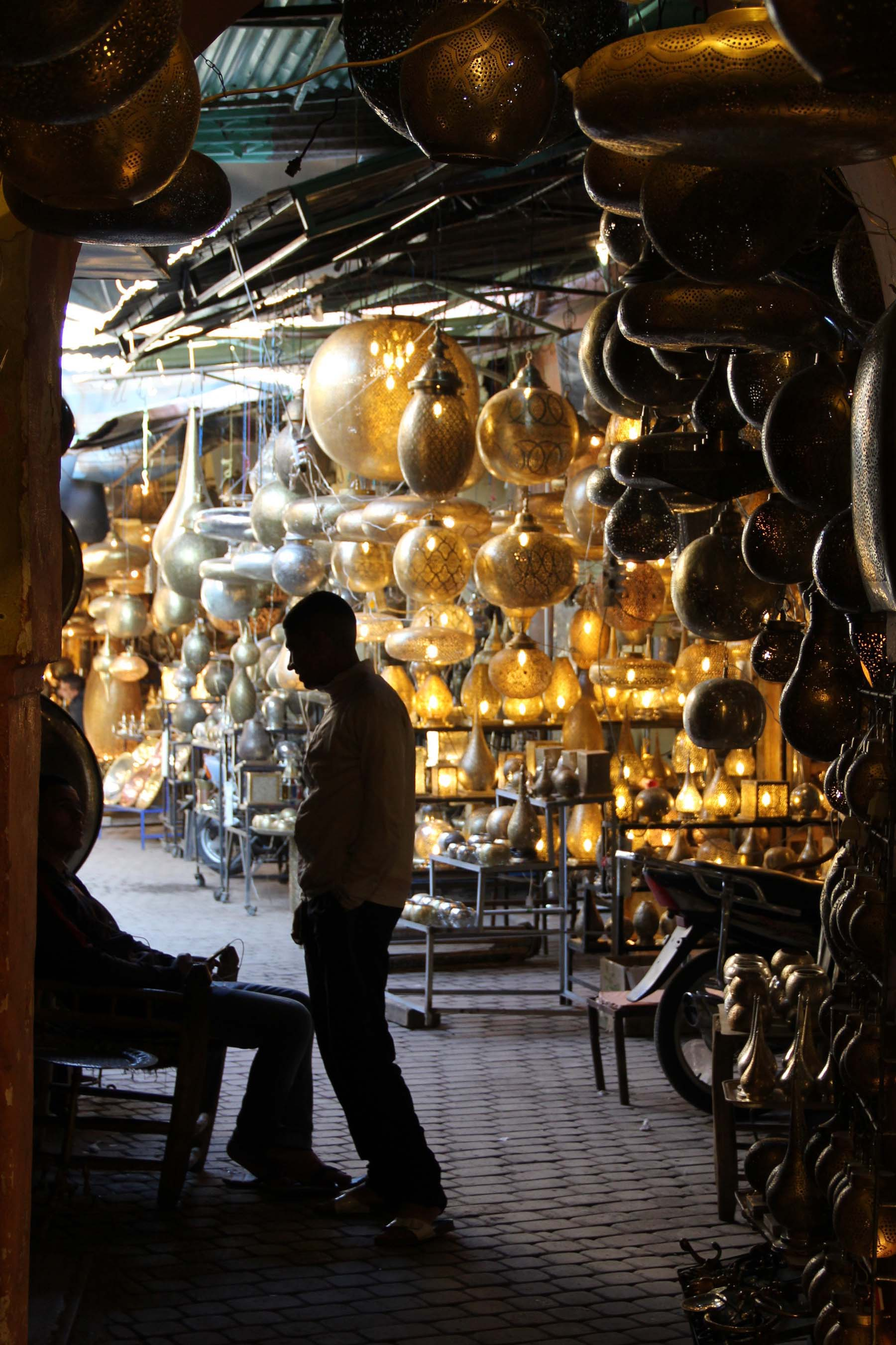 Lamps in a souk of Marrakech