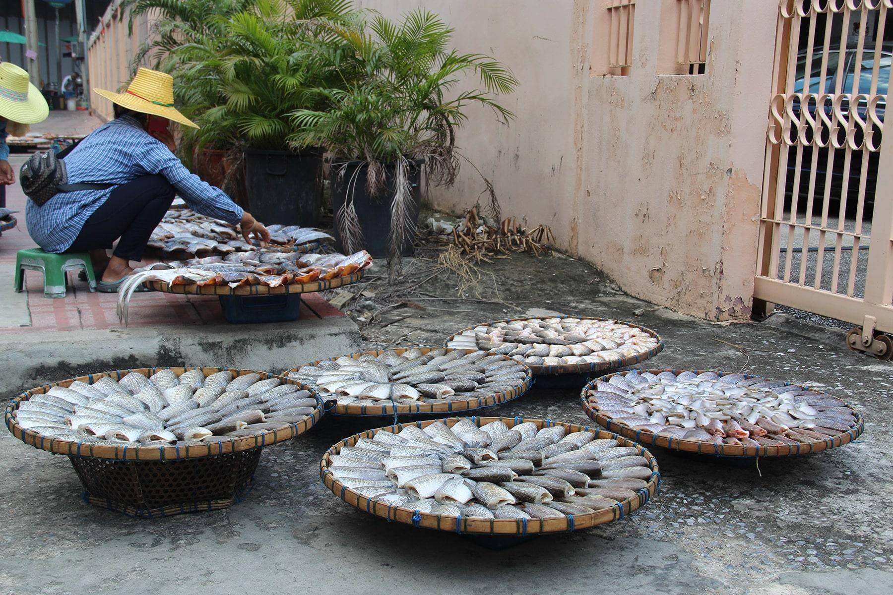 Mercato del pesce sul ciglio della strada