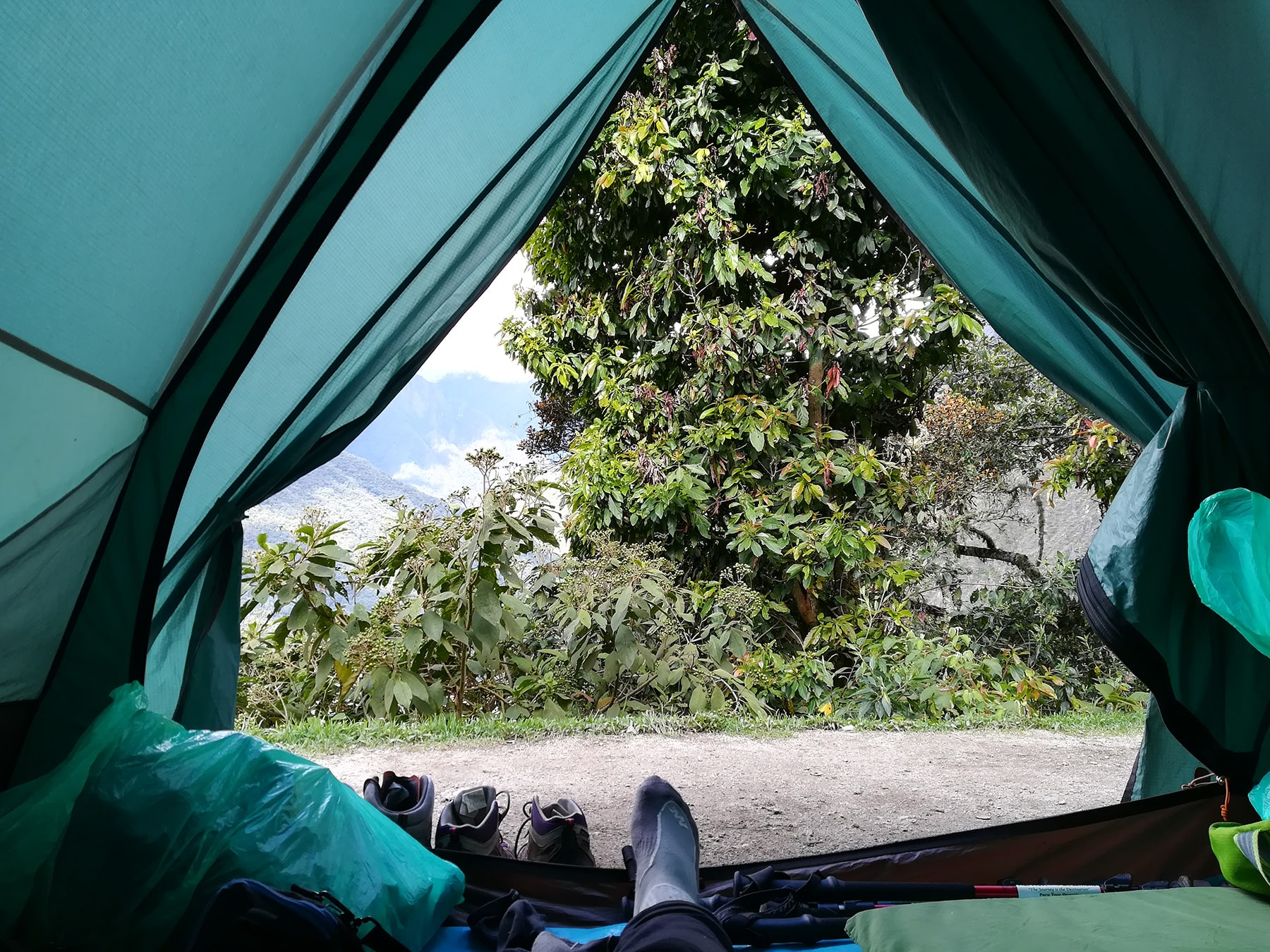 Tent with a view on mountains on 2nd day inca trail