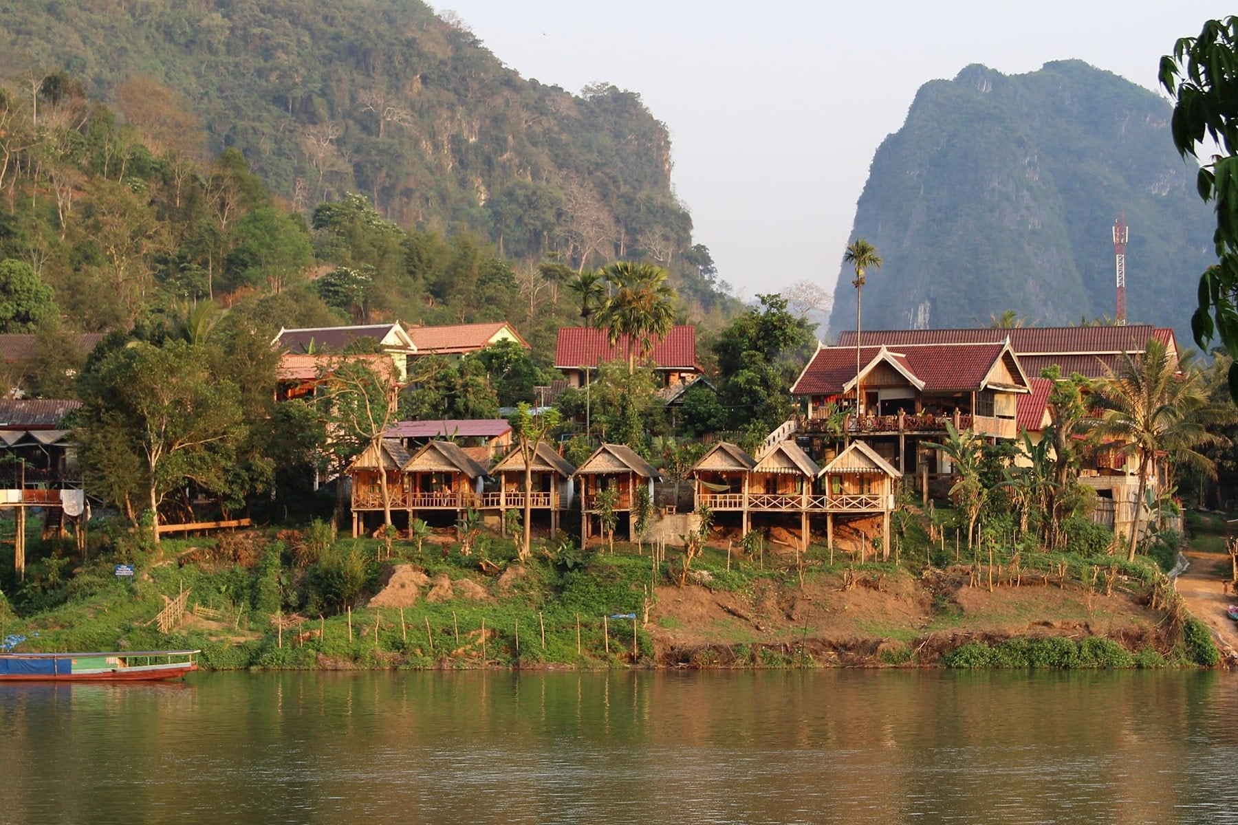 Hotels on the river bank Nong Khiaw, Laos