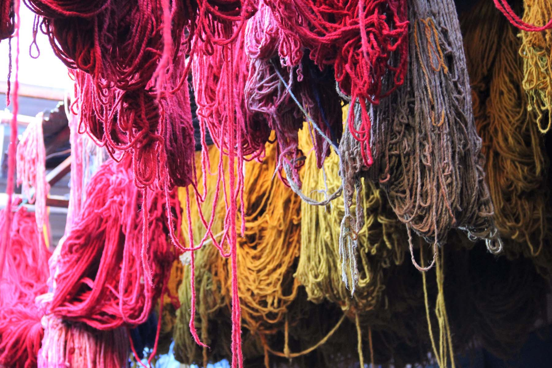 Wool fibers in Marrakech's dyers souk