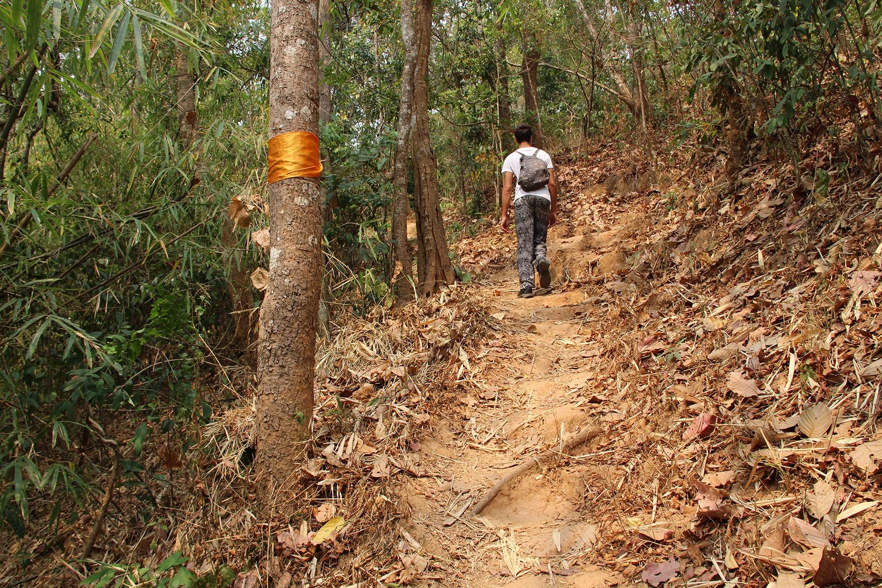 """Homme suivant les tissus orange indiquant le """"Sentier des moines"""" dans le parc national de Doi Suthep à Chiang Mai"""