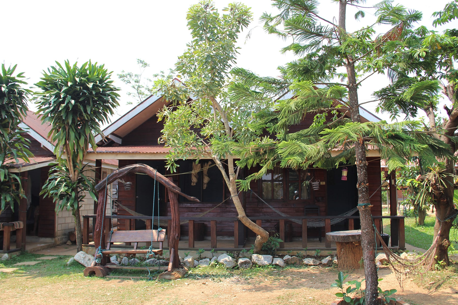 Two rooms in a bungalow in the Sabaidee Guesthouse during Thakek loop, Laos