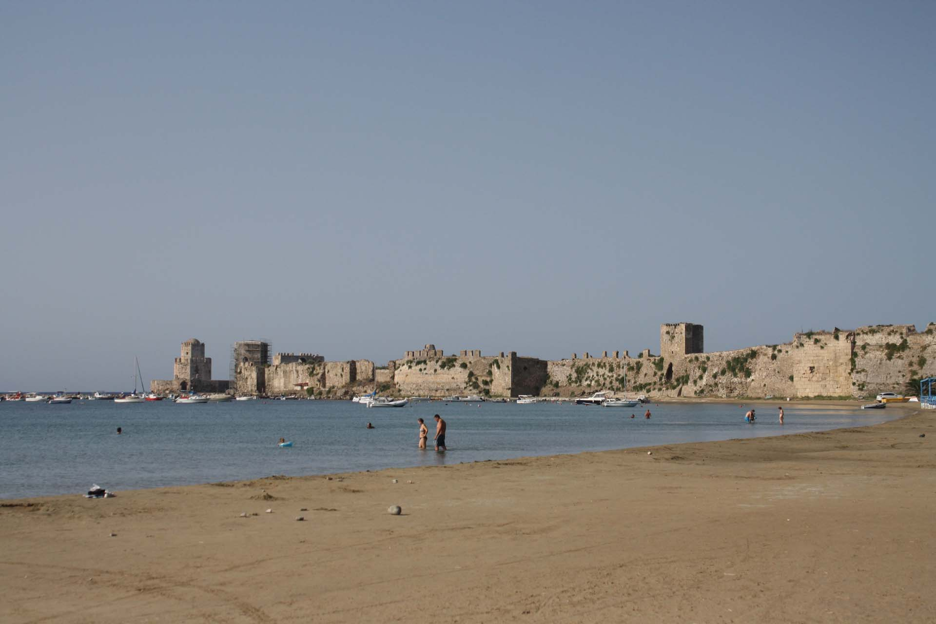 Methoni beach with view of the fortress