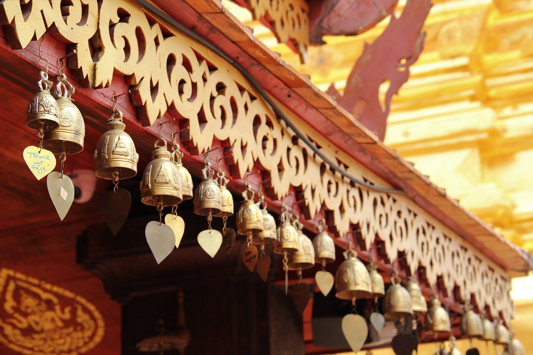 Golden little bells on the roof of Wat Phra That in Doi Suthep, Chiang Mai