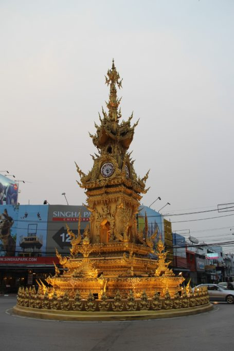 Chiang Rai golden tower clock