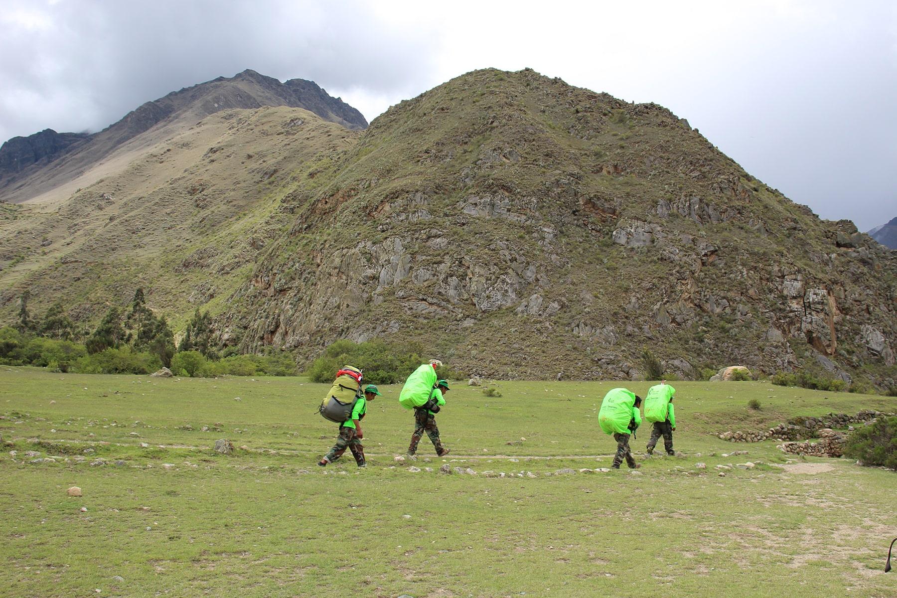 I porters nell'Inca Trail