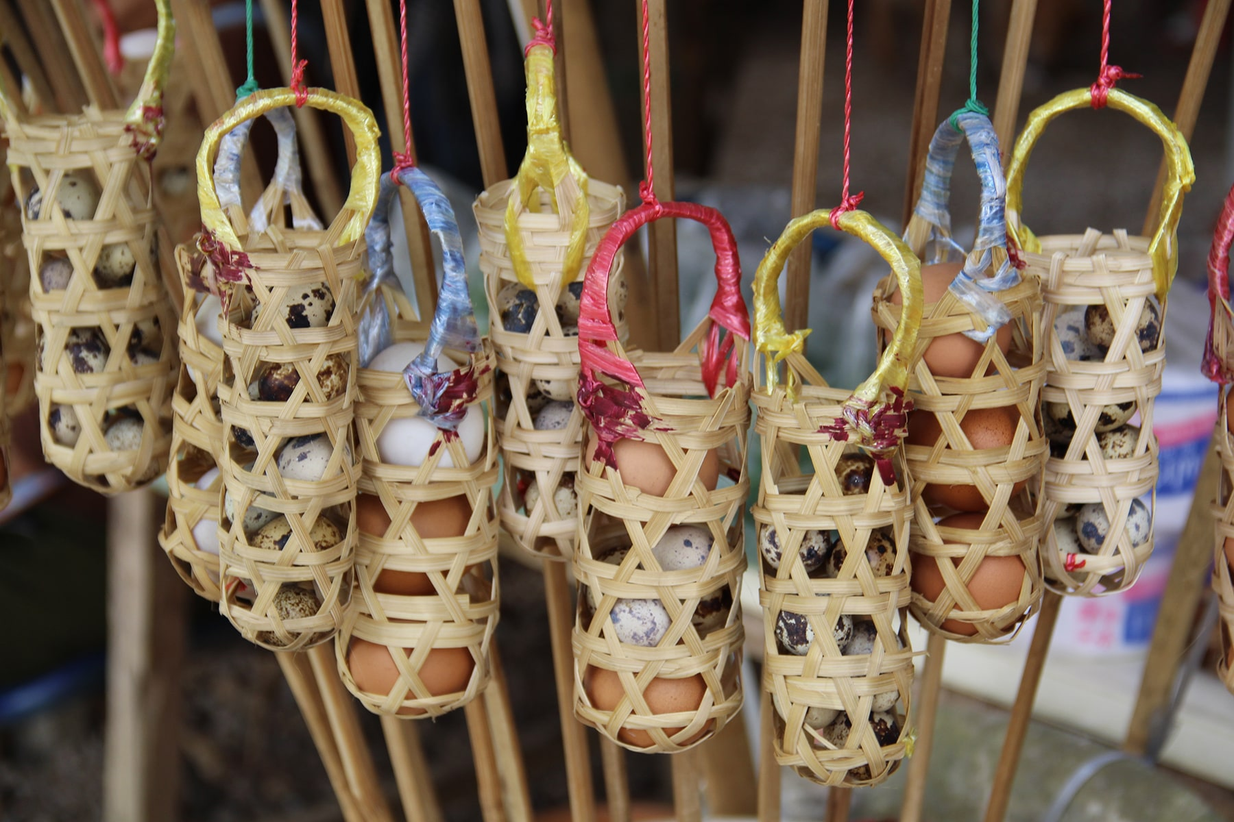 Baskets of eggs to cook in Chiang Rai hot springs