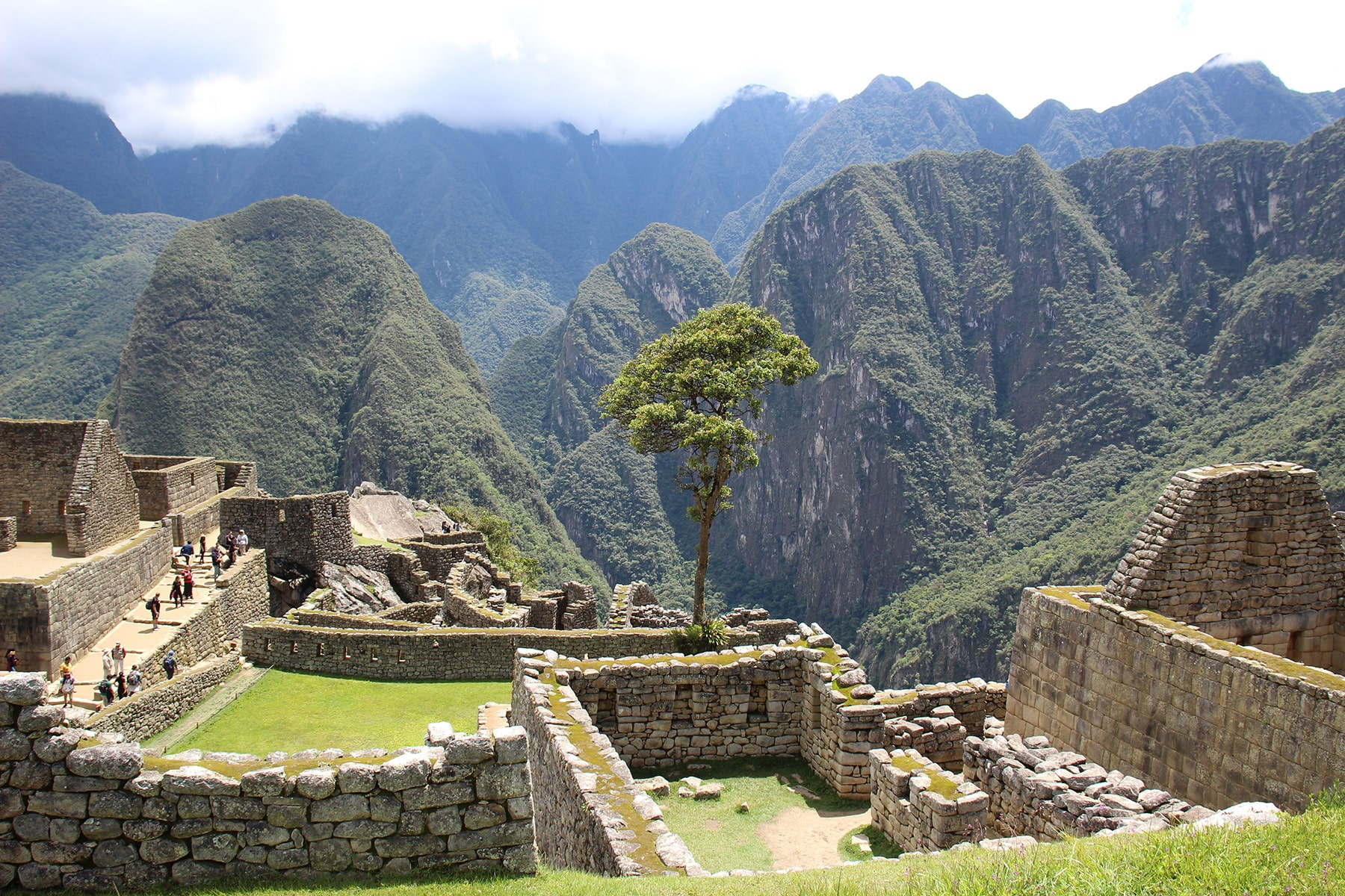 View on some buildings in Machu Picchu, ruins and mountains
