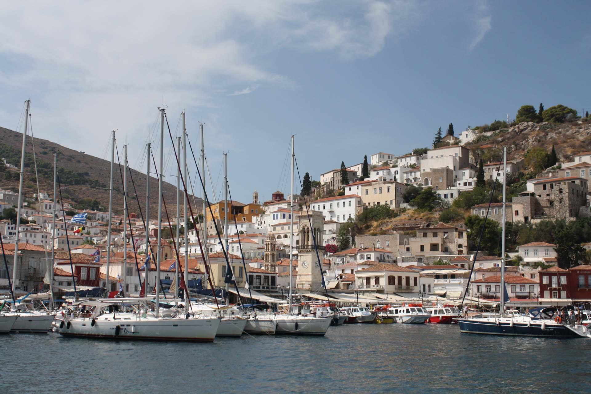 Hydra island port boats houses