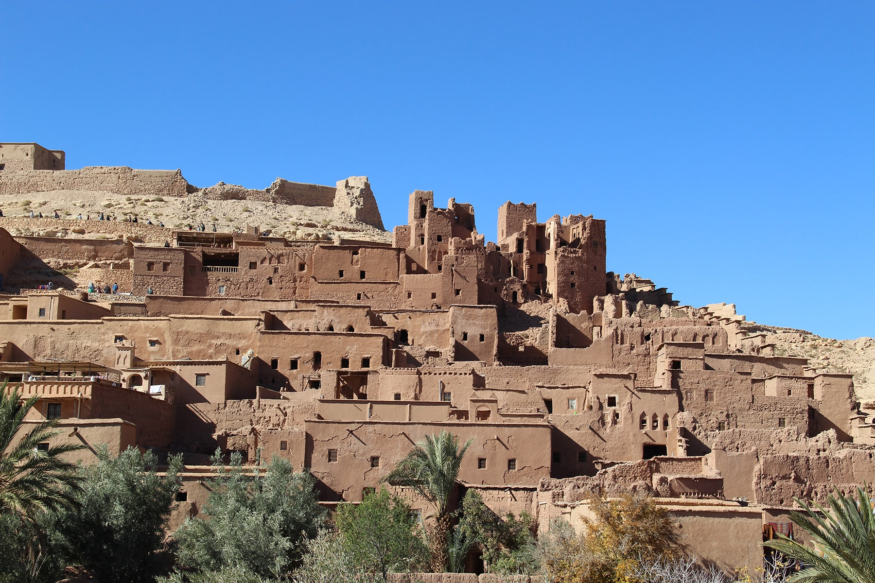 Ait Benhaddou ksar with houses and kasbahs