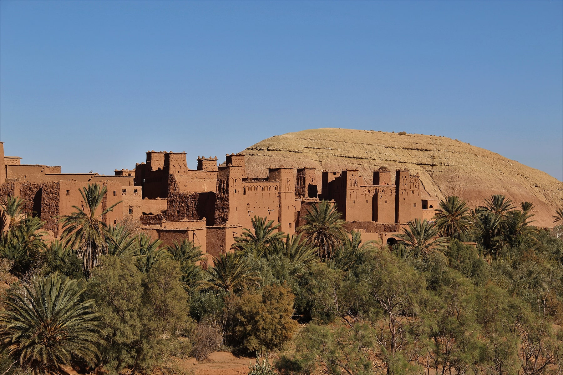 View of Ait Benhaddou kasbah and palm grove