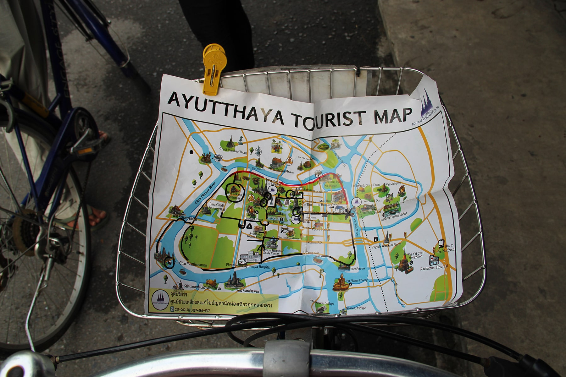 Map of the Ayutthaya site on our bicycle