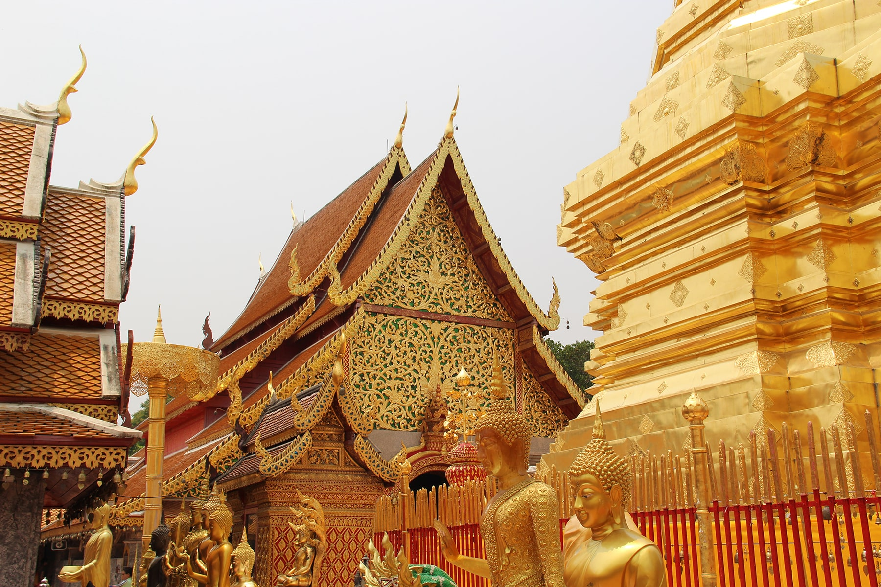 Golden glimpse of the Doi Suthep temple in Chiang Mai