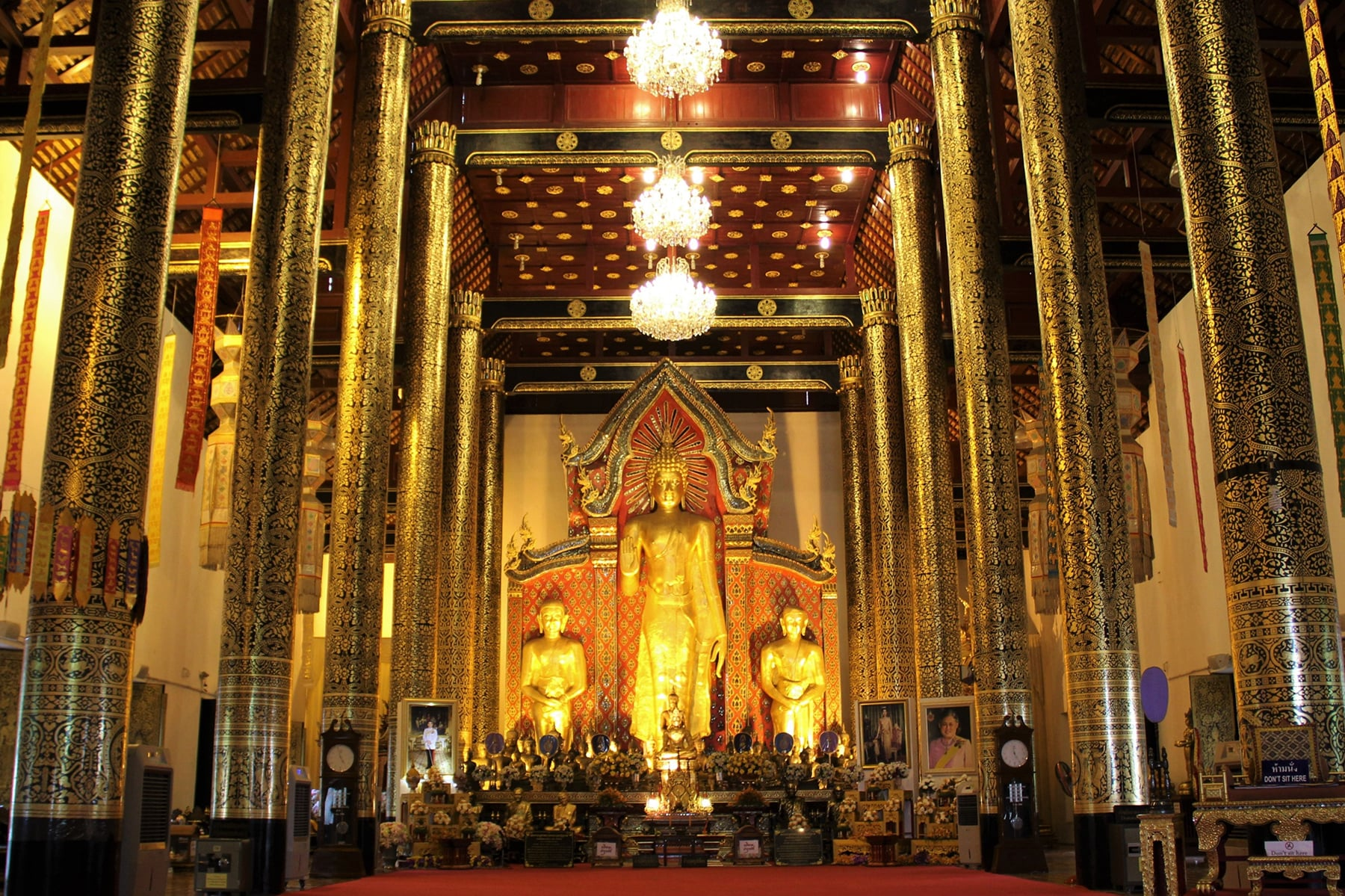 Inside the ordination hall in the Wat Chedi Luang in Chiang Mai