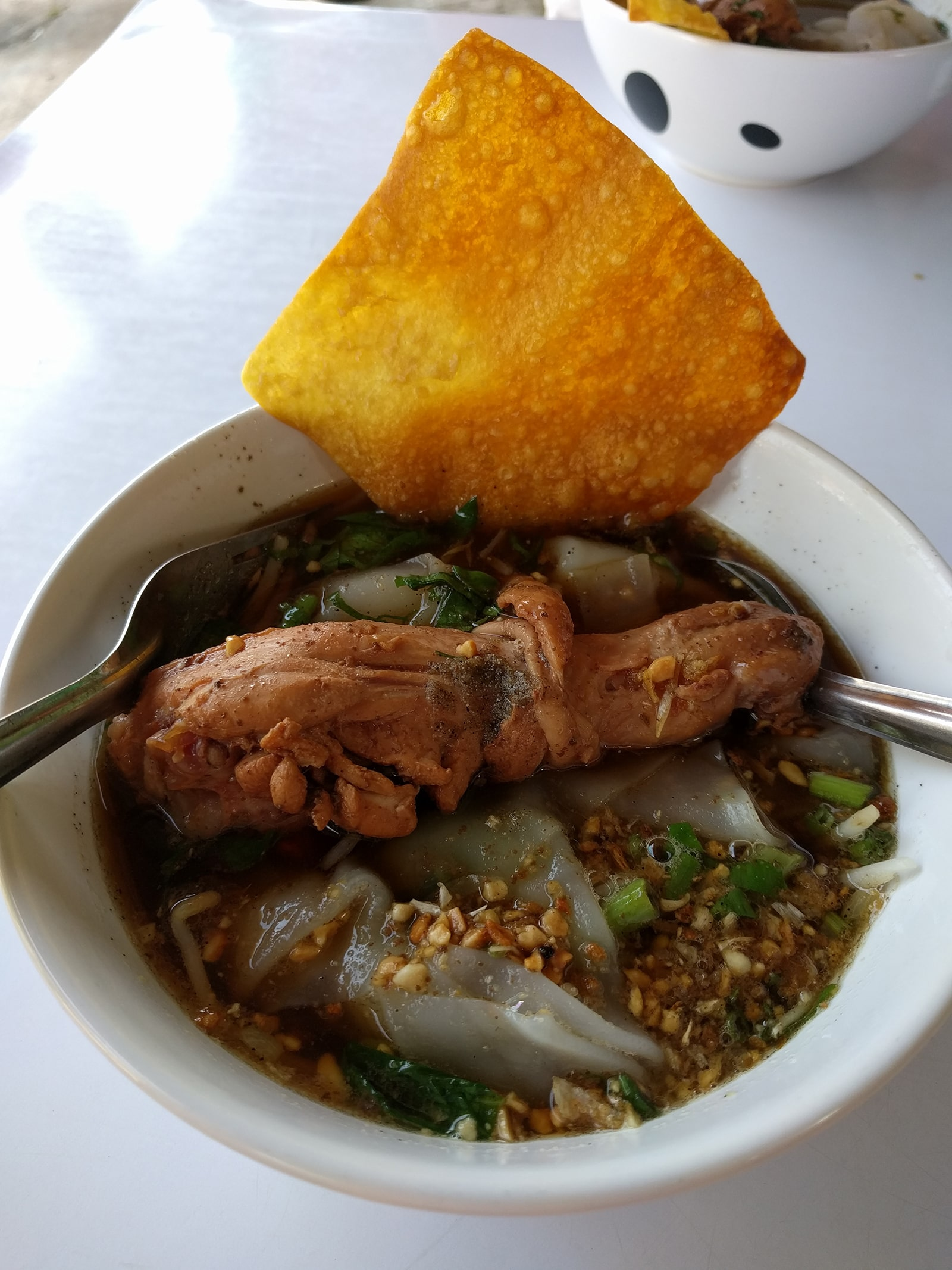 The chicken soup of the green restaurant on the island of Koh Yao Yai