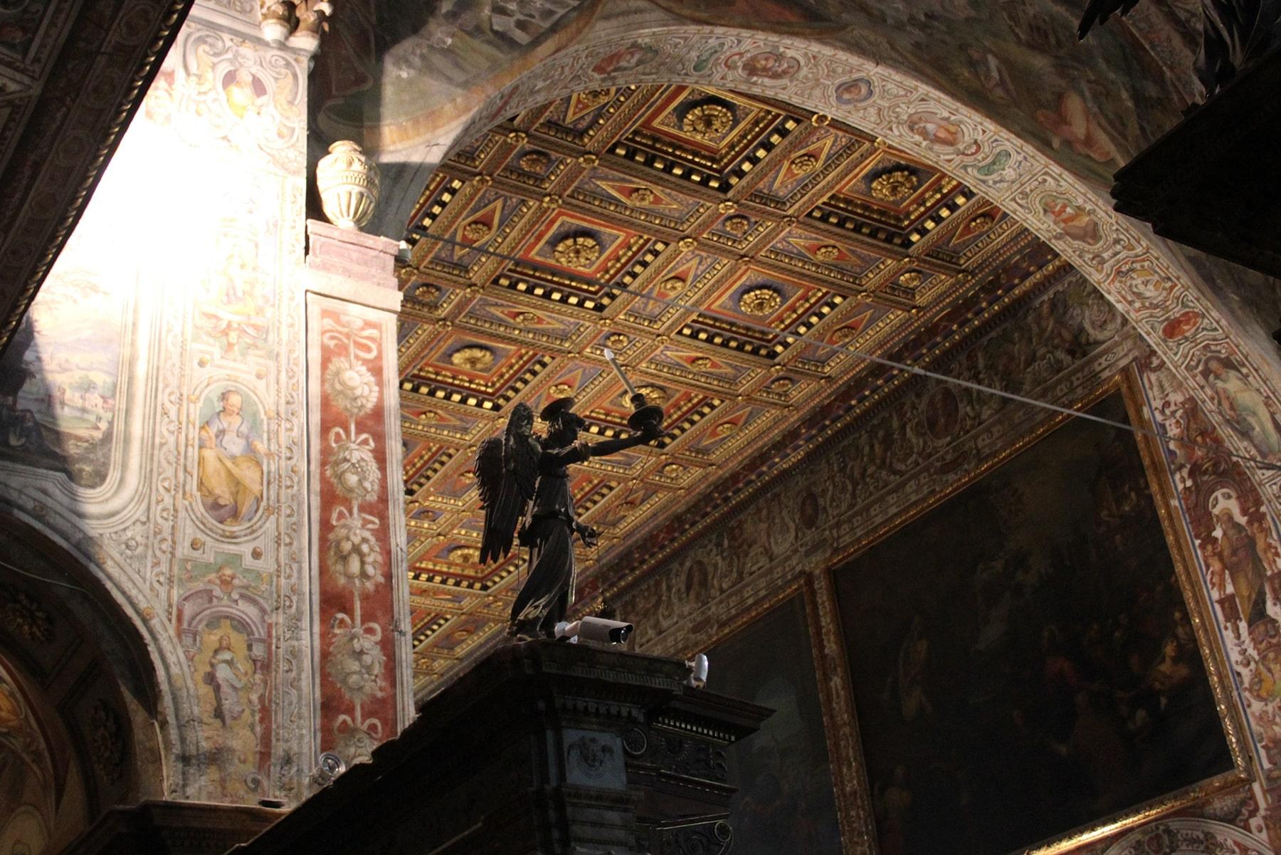 Detail inside of the San Pietro abbey Perugia