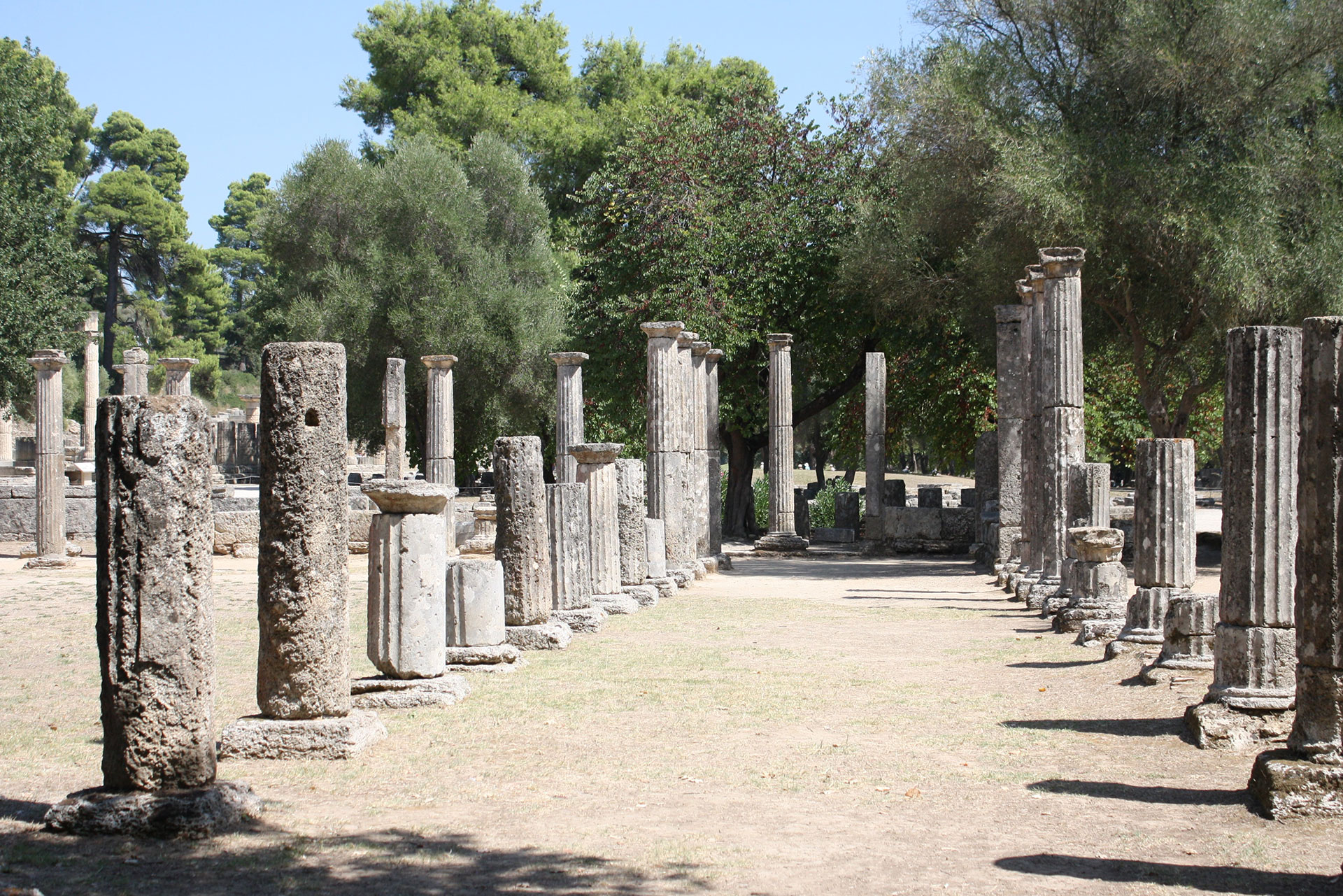 Gymnasium in the ancient site of Olympia with column ruins