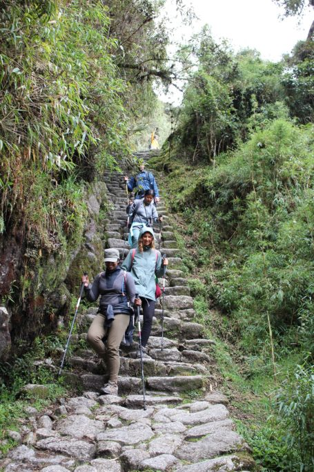 Inca trail staircases going down