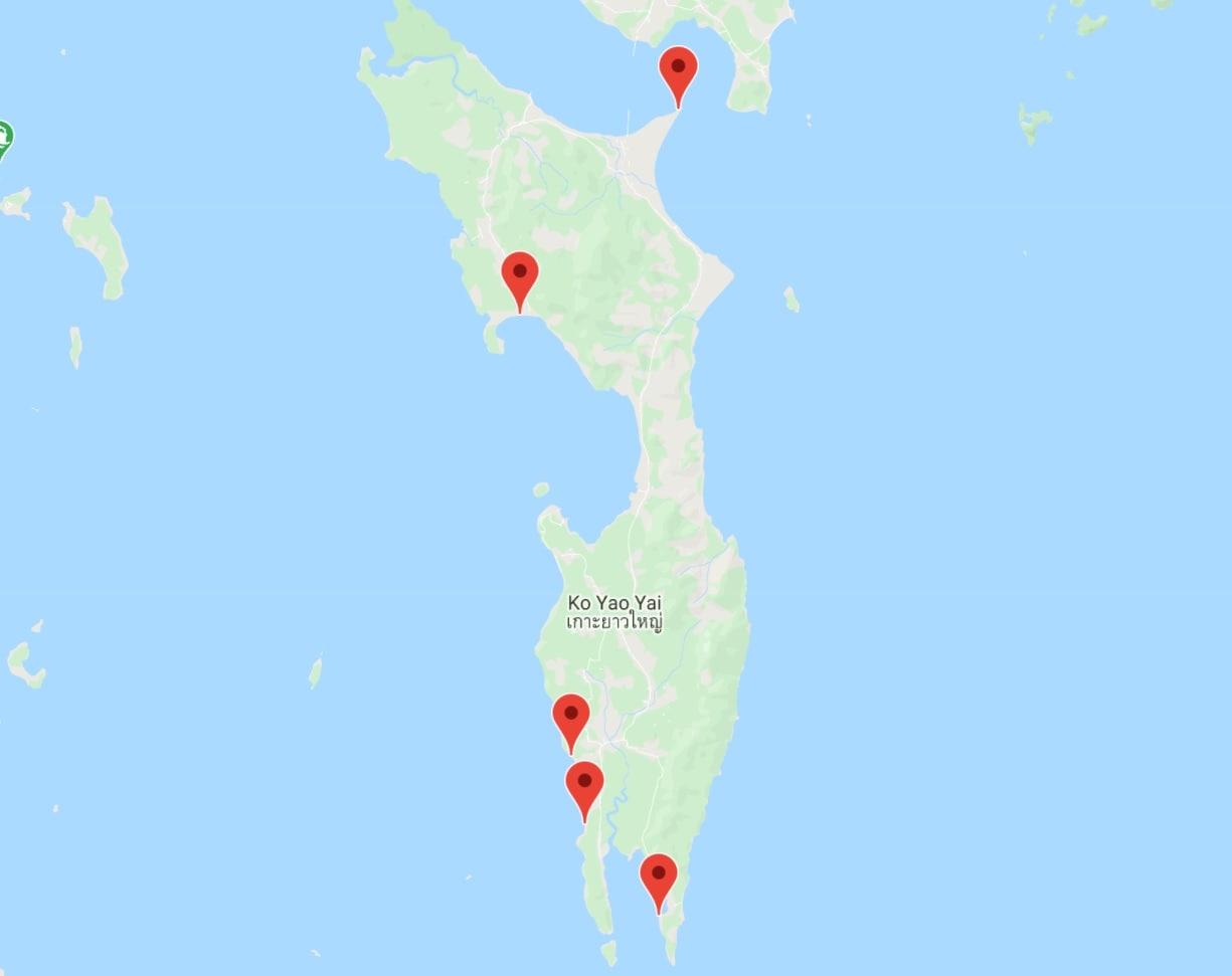Carte itinéraire à Koh Yao Yai, Thaïlande