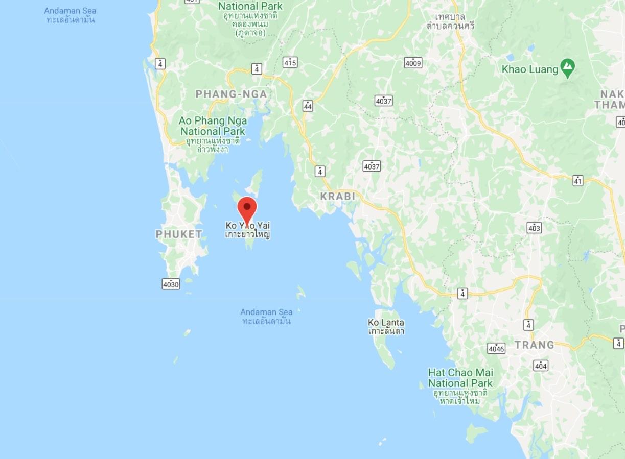 Emplacement de l'île de Koh Yao Yai en Thaïlande