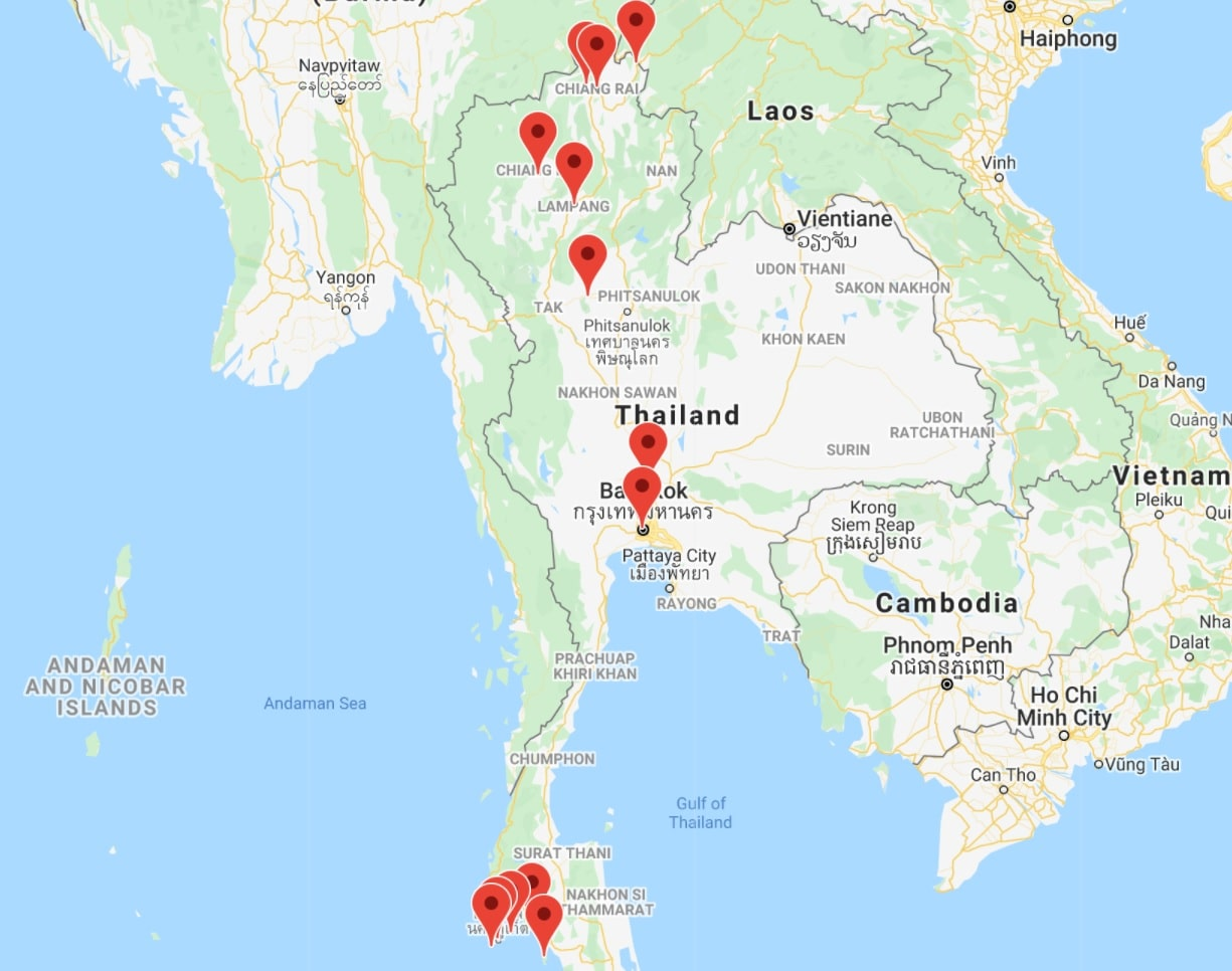 Map Thailand itinerary 1 month